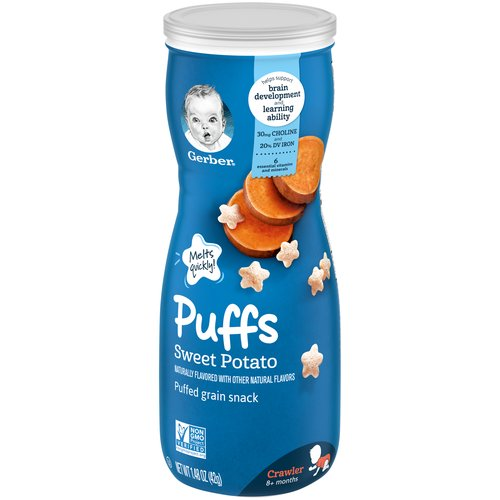 <ul> <li>One (1) 1.48 oz container of Gerber Graduates Sweet Potato Puffs</li> <li>Melt-in-your-mouth texture specially designed to dissolve quickly</li> <li>Star-shaped with ridges, making them easy for little ones to pick up</li> <li>Non-GMO: Not made with genetically engineered ingredients</li> <li>Gerber is a leader in infant and early childhood nutrition.  Have questions?  We are awake when you are 24/7: 1-800-284-9488</li> </ul>