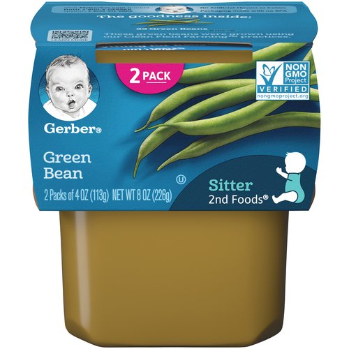 Continue your baby's love of veggies with Gerber 2nd Foods Green Bean baby food. Gerber 2nd Foods baby food helps expose babies to a variety of tastes and ingredient combinations which is important to help them accept new flavors. All our recipes are made with fruits and veggies that meet Gerber's high quality standards. This recipe includes a lot of love, care and 22 green beans in each tub. These green beans were grown using our Clean Field Farming practices.