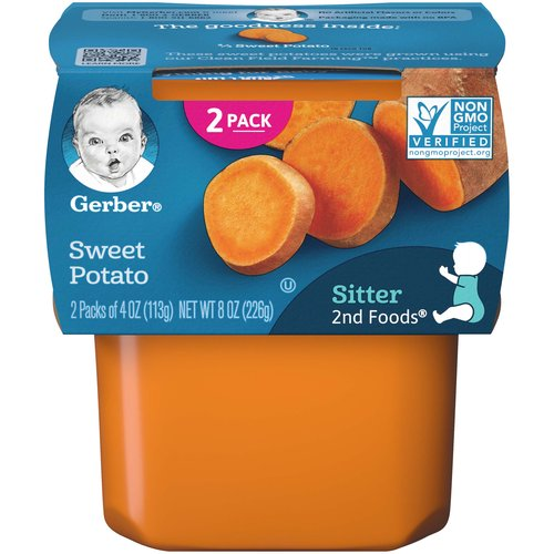 One (1) 2-count pack of 4 oz tubs  50% Daily Value of antioxidant Vitamin A  Unsweetened, unsalted, no added starch, artificial flavors or colors  Non-GMO: not made with genetically engineered ingredients; Packaging made with no BPA  Head to MyGerber.com to meet Dotti, your on-call personal baby expert, or call us anytime 24/7 at 1-800-284-9488