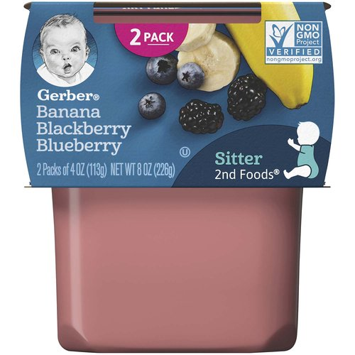 Continue your baby's love of fruits with Gerber 2nd Foods Banana Blackberry Blueberry baby food. Gerber 2nd Foods baby food helps expose babies to a variety of tastes and ingredient combinations which is important to help them accept new flavors. All our recipes are made with fruits and veggies that meet Gerber's high quality standards. This recipe includes a lot of love, care, 3/4 banana, 1 1/2 blackberries and 8 blueberries in each tub. *1 serving is 3 tbsp fruit/veg for babies