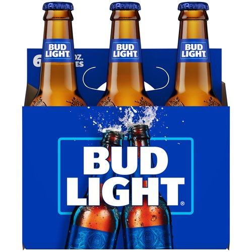 <ul> <li>6 pack of 12-fluid ounce bottles of Bud Light Beer</li> <li>Premium light lager brewed in the USA</li> <li>American beer with a fresh, clean taste and a refreshing, crisp finish</li> <li>Made with a blend of premium aroma hop varieties, barley malts, rice and water</li> <li>Brewed with hand selected hops that add the right amount of floral notes and bitterness</li> <li>Contains 110 calories per serving and 4.2% ABV</li> <li>Carry case makes it easy to bring this bottled beer anywhere</li> </ul>