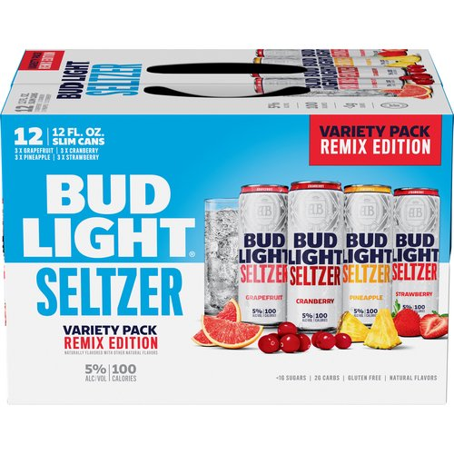 <ul> <li>12 pack of 12 fl oz slim cans Bud Light Seltzer Remix Variety Pack</li> <li>Includes grapefruit, cranberry, pineapple and strawberry flavored hard seltzer</li> <li>Gluten free alcoholic drinks made with no artificial flavors</li> <li>Hard fruit drink with a clean finish and no lingering aftertaste</li> <li>Alcohol drink with a 5% ABV, 100 calories, less than 1 g of sugar and 2 g of carbs per serving</li> <li>A refreshing canned seltzer that is perfect for backyard parties and barbeques</li> <li>Slim seltzer cans makes these hard seltzers easy to hold, store and transport</li> </ul>