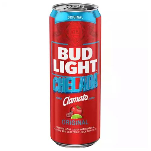 Bud Light & Clamato Chelada is a beer that combines Bud Light with the refreshing taste of Clamato, spices and a hint of lime.  Bud Light & Clamato Chelada Beer follows the traditional brewing process for Bud Light then Clamato is carefully blended with the beer to create the proper balance of the crisp finish of Bud Light and the signature taste of Clamato.  Bud Light & Clamato Chelada is a combination of our classic American-style lagers, Budweiser and Bud Light, and the rich, spicy taste of Clamato Tomato Cocktail.  We follow the traditional brewing process for Budweiser and Bud Light.  Clamato is carefully blended with the beer to create the proper balance of the crisp finish of Bud Light and the signature taste of Clamato.