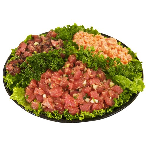 A local favorite - choose 3 different varieties of selected freshly made poke. - Avocado - California Roll - Hawaiian Style - Limu - Oyster Sauce - Shoyu - Spicy  Serves 18-20