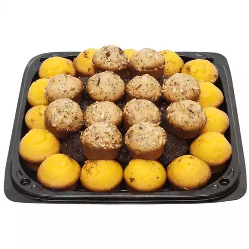 """<br>12"""" platter of assorted mini muffins. It may contain a combination of any of the following varieties:  Blueberry,  Banana , Chocolate Chip. </br>  <br> Serves 12-14</br>"""