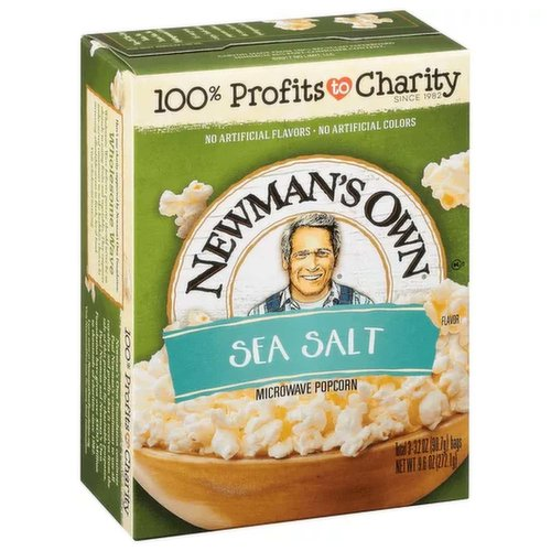 No artificial preservatives. No artificial flavors. No artificial colors. 100% profits to charity since 1982. Carton made from 100% recycled paperboard. Minimum 35% post-consumer content. Top-of-the-crop taste. No trans fats, no hydrogenated oils! It's our great, crispy, fresh-tasting popcorn without the trans fats and hydrogenated oils. It's delicious and pops to perfection in two to five minutes. Here's one charity supported by Newman's Own Foundation: Wholesome Wave: Wholesome Wave believes poverty should never be an obstacle to eating fruits and vegetables. They empower under-served consumers to make healthier choices by increasing affordable access to fresh, local food. Visit wholesomewave.org. Newman's Own Foundation continues Paul Newman's commitment to use all royalties and profits that it receives from the sale of this product for charitable purposes. Paul Newman and Newman's Own Foundation have given over $475 million to thousands of charities since 1982. Learn more at NewmansOwnFoundation.org. Visit NewmansOwn.com for more food information. Popping instructions located on bag. Legend: I'll tell you how bad it is. Nobody gets trusted with popcorn - except me. That includes the FBI, the IRS, Tiffany's and concessionaires of any ilk. A good flick arrives on the local screen, you see ol' Newman scuttling across the lobby with a greasy brown paper bag of this homemade popcorn in one hand and - you guessed it - a machete in the other. Who's who lists a lot of one-armed people in my hometown. They got caught trying to muscle their way into my greasy brown paper bag. The way I feel - they got off easy. They should have been strung up. - Col. P.L. Pop's Newman. Produced exclusively with sustainable palm oil from South America.