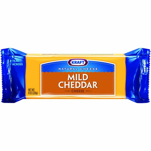<ul> <li>One 8 oz. Kraft Natural Mild Cheddar Cheese Block</li> <li>Kraft Natural Mild Cheddar Cheese Block is backed by years of cheese-making experience</li> <li>Every batch of Kraft cheese starts with fresh milk for creamy flavor</li> <li>Say yes to the rich cheese taste you and your family will love</li> <li>Convenient cheese block is perfect for shredding, slicing, or snacking</li> <li>Enhance your next meal with this Kraft Natural Mild Cheddar Cheese Block</li> <li>Easy tear packaging for simple meal prep</li> </ul>