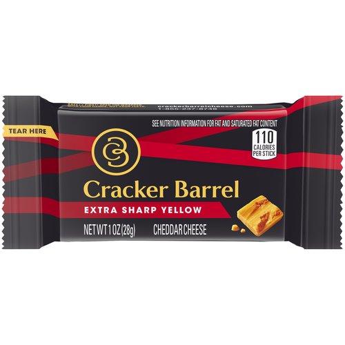 <ul> <li>One 1 oz. Cracker Barrel Extra Sharp Yellow Cheddar Cheese Stick</li> <li>Award-winning cheddar in a graband-go cheese stick</li> <li>Extra sharp yellow cheddar cheese for smooth creaminess and bold sharpness</li> <li>A snackworthy cheddar cheese stick to take on the go</li> <li>Made with real milk for a rich taste</li> <li>A great cheddar snack for lunch boxes, office refrigerators, day trips or wherever you snack most</li> <li>Individually wrapped cheddar sticks for easy packing</li> </ul>