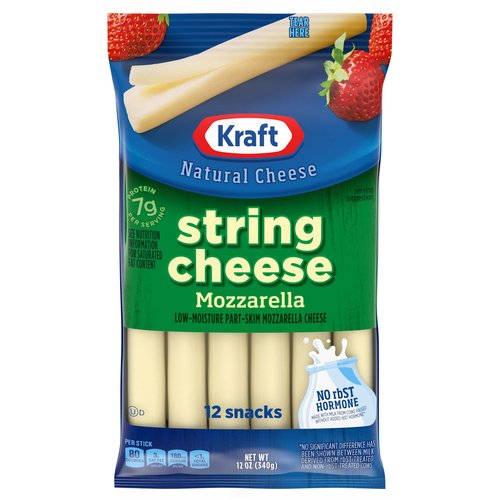 <ul> <li>1- 12 ct. pack of Kraft Natural Mozzarella String Cheese Sticks</li> <li>Kraft Natural Mozzarella String Cheese Sticks are a convenient snack</li> <li>Mozzarella cheese is mild and creamy</li> <li>Cheese sticks are easy to pack into lunch boxes</li> <li>Made with fresh milk for quality and consistency</li> <li>Individually wrapped cheese is great for an easy snack or lunch side</li> <li>Keep refrigerated</li> </ul>