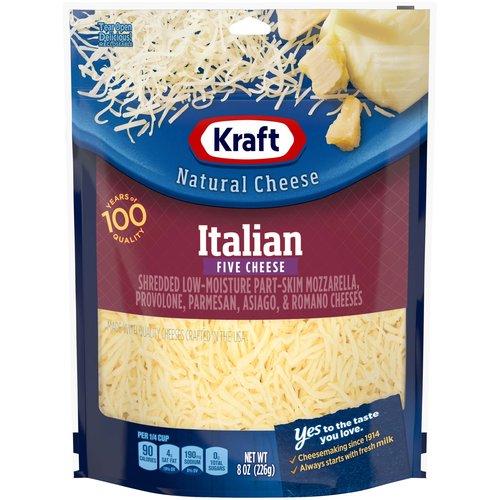 <ul> <li>One 8 oz. bag of Kraft Natural Italian Five Cheese Blend Shredded Cheese</li> <li>Kraft Natural Italian Five Cheese Blend Shredded Cheese is backed by years of cheese-making experience</li> <li>Every batch of Kraft cheese starts with fresh milk for creamy flavor</li> <li>Say yes to the rich cheese taste you and your family will love</li> <li>Shredded cheese sprinkles evenly and melts easily</li> <li>Enhance your next meal with Kraft Natural Italian Five Cheese Blend Shredded Cheese</li> <li>Resealable bag helps lock in flavor</li> </ul>