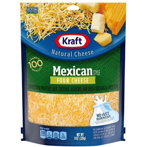 <ul> <li>1-8 oz. bag of Kraft Natural Mexican Style Four Cheese Blend Shredded Cheese</li> <li>Kraft Natural Mexican Style Four Cheese Blend Shredded Cheese is backed by years of cheese-making experience</li> <li>Every batch of Kraft cheese starts with fresh milk for creamy flavor</li> <li>Say yes to the rich cheese taste you and your family will love</li> <li>Shredded cheese sprinkles evenly and melts easily</li> <li>Enhance your next meal with Kraft Natural Mexican Style Four Cheese Blend Shredded Cheese</li> <li>Resealable bag helps lock in flavor</li> </ul>