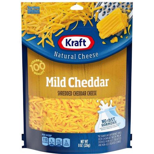 <ul> <li>1- 8 oz. bag of Kraft Natural Mild Cheddar Shredded Cheese</li> <li>Kraft Natural Mild Cheddar Shredded Cheese is backed by years of cheese-making experience</li> <li>Every batch of Kraft cheese starts with fresh milk for creamy flavor</li> <li>Say yes to the rich cheese taste you and your family will love</li> <li>Shredded cheese sprinkles evenly and melts easily</li> <li>Enhance your next meal with Kraft Natural Mild Cheddar Shredded Cheese</li> <li>Resealable bag helps lock in flavor</li> <li>No rbST Hormone</li> </ul>