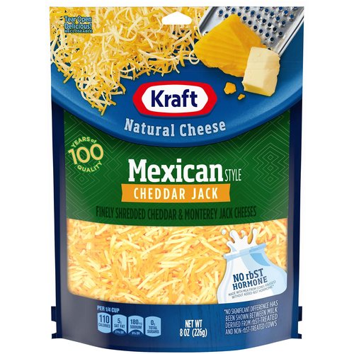 <ul> <li>1- 8 oz. bag of Kraft Natural Mexican Style Cheddar Jack Shredded Cheese</li> <li>Kraft Natural Mexican Style Cheddar Jack Shredded Cheese is backed by years of cheese-making experience</li> <li>Every batch of Kraft cheese starts with fresh milk for creamy flavor</li> <li>Say yes to the rich cheese taste you and your family will love</li> <li>Shredded cheese sprinkles evenly and melts easily</li> <li>Enhance your next meal with Kraft Natural Mexican Style Cheddar Jack Shredded Cheese</li> <li>Resealable bag helps lock in flavor</li> <li>No rbST Hormone</li> </ul>