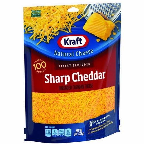 <ul> <li>One 8 oz. bag of Kraft Natural Sharp Cheddar Shredded Cheese. </li> <li>Kraft Natural Sharp Cheddar Shredded Cheese is backed by years of cheese-making experience.</li> <li>No rBST Hormone.</li> <li>Every batch of Kraft cheese starts with fresh milk for creamy flavor.</li> <li>Say yes to the rich cheese taste you and your family will love.</li> <li>Shredded cheese sprinkles evenly and melts easily.</li> <li>Enhance your next meal with Kraft Natural Sharp Cheddar Shredded Cheese.</li> <li>Resealable bag helps lock in flavor.</li> </ul>