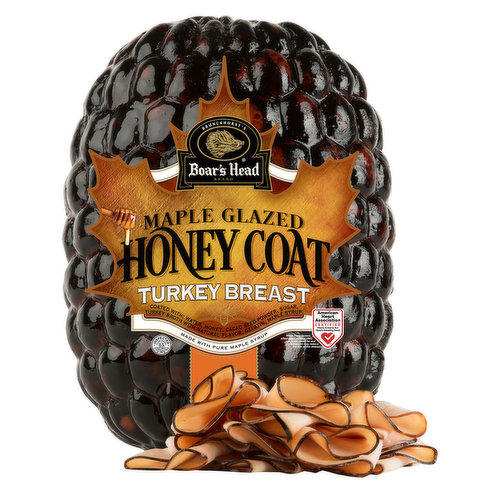 <br>Delivering an irresistible sweet and savory flavor, Boar's Head®  Maple Glazed Honey Coat® Turkey Breast is glazed with 100% pure maple syrup, coated with golden honey and slow roasted for a delightfully sweet taste of home. </br>  <br>Coated with: Water, Honey, Cacao  Seed Powder, Sugar, Turkey Broth with Natural Flavor, Gelatin, Maple Syrup.  </br>  <br>Ingredients: Turkey Breast, Water, Salt, Sugar, Dextrose, Pure Maple Syrup, Honey, Sodium Phosphate, Natural Flavorings, Sea Salt. </br>