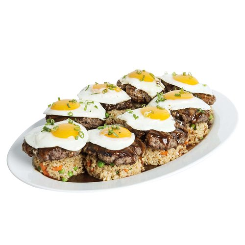 Our version of a local classic, featuring ground sirloin patties, fried rice, sunny side up eggs and pan gravy.  Serves 6-8