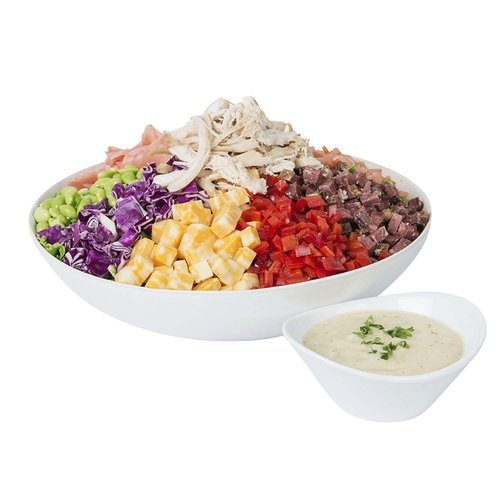 """Our """"bambucha"""" salad bowls are freshly prepared with product from our store, using seasonal and local ingredients whenever possible.   <br><br> Chopped Chop Salad:  Baby field greens, edamame, egg, red pepper, tomatoes, radicchio, pipikaula, pulehu chicken, endive, pickled ginger, colby jack cheese. <br>   Served with sherry vinaigrette.   <br><br> Serves 6-8"""