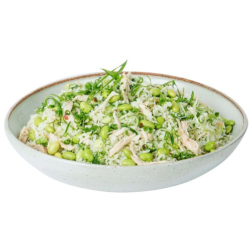 White and basmati rice sauteed with ginger, scallions, edamame and shredded chicken. <br><br>   Serves 6-8