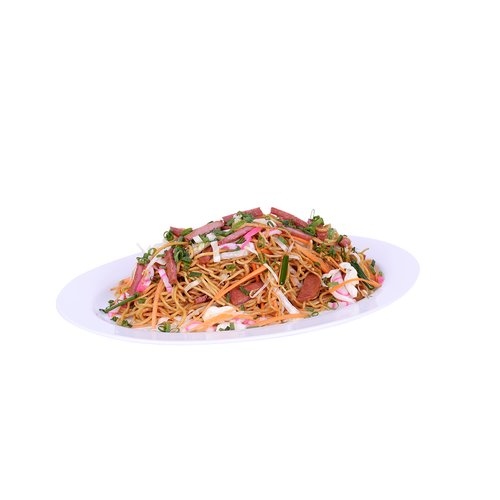 A local favorite. Stir fried noodles with spam, onions, carrots, green onions and kamaboko. <br><br>   Serves 6-8