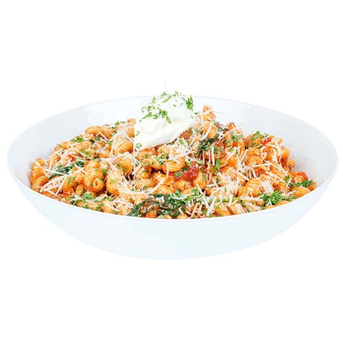 Zesty meat sauce tossed with pasta and finished with ricotta cheese.   <br><br> Serves 6-8
