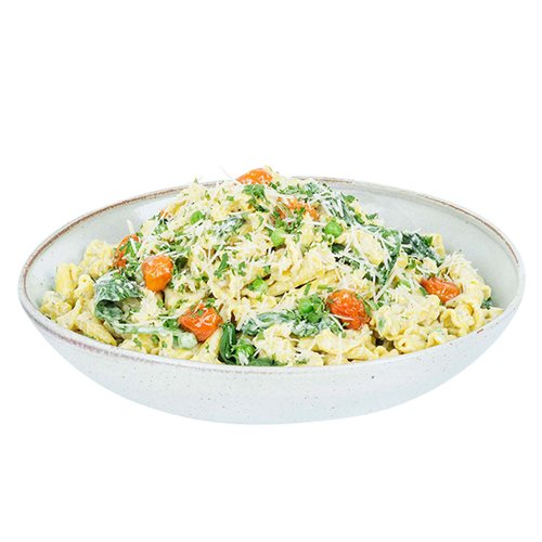 Fresh spinach, roasted tomatoes and peas tossed with pasta in a basil pesto cream sauce. <br><br>   Serves 6-8