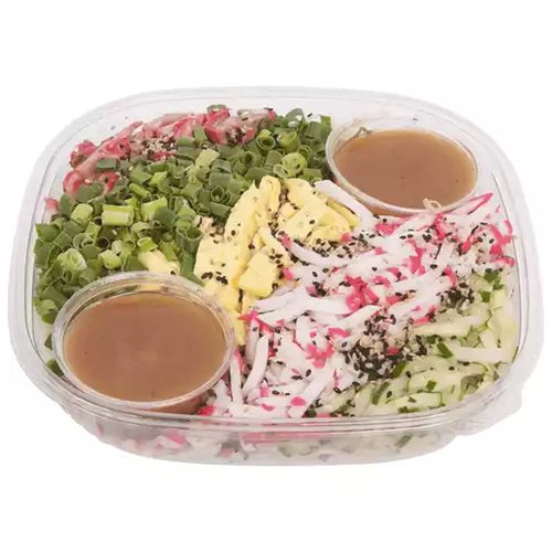 2.5 lbs of Hawaiian - Japanese style cold noodle salad with cucumber, green onions, kamaboko, eggs and char siu.  Includes salad dressing.  Serves 6-8