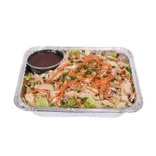 Pan of shredded chicken over lettuce with crispy wontons (3 lbs).  Serves 10-12