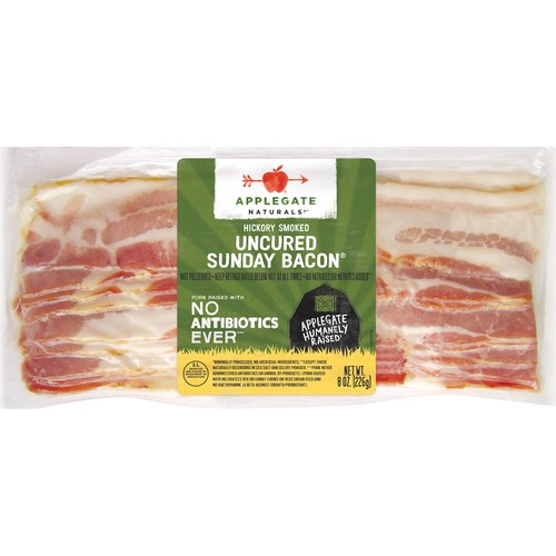 Applegate, Natural Uncured Sunday Bacon, 8oz  No Antibiotics or Added Hormones  No Chemical Nitrites or Nitrates  No Artificial or GMO Ingredients  Humanely Raised  Gluten Free  Dairy Free