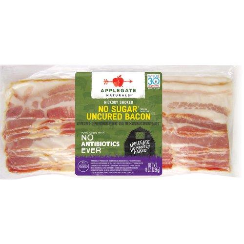 <ul> <li>Applegate Natural No Sugar Uncured Bacon- 8oz</li> <li>No Antibiotics or Added Hormones</li> <li>No Chemical Nitrites or Nitrates</li> <li>No Artificial or GMO Ingredients</li> <li>Humanely Raised</li> <li>Whole30 Approved</li> <li>Gluten Free, Sugar Free, Dairy Free & Casein Free</li> </ul>