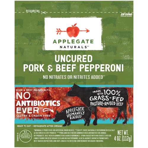 <ul> <li>Applegate Natural Uncured Pork & Beef Pepperoni-4oz</li> <li>No Antibiotics or Added Hormones</li> <li>No Chemical Nitrites or Nitrates</li> <li>No Artificial or GMO Ingredients</li> <li>Humanely Raised</li> <li>Gluten Free</li> <li>Dairy Free & Casein Free</li> </ul>