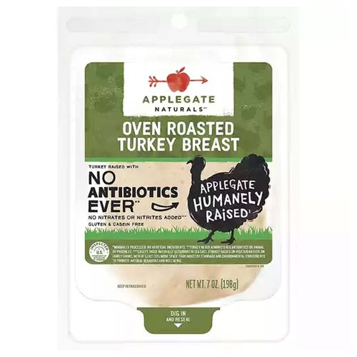 <ul> <li>No Antibiotics or Added Hormones</li> <li>No Chemical Nitrites or Nitrates</li> <li>No Artificial or GMO Ingredients</li> <li>Humanely Raised</li> <li>Whole30 Approved</li> <li>Gluten Free, Sugar Free, Dairy Free & Casein Free</li> <li>Applegate Natural Oven Roasted Turkey Breast - 7oz</li> </ul>