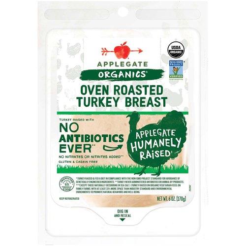 <ul> <li>Applegate Organic Oven Roasted Turkey Breast- 6oz</li> <li>No Antibiotics or Added Hormones</li> <li>No Chemical Nitrites or Nitrates</li> <li>Non-GMO Project Verified</li> <li>Humanely Raised</li> <li>Whole30 Approved</li> <li>Gluten Free, USDA Organic, Sugar Free, Dairy Free & Casein Free</li> </ul>