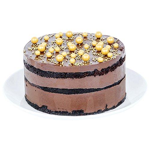 "6"" chocolate cake with creamy chocolate glaze filing.   <br><br> Serves 6-8"