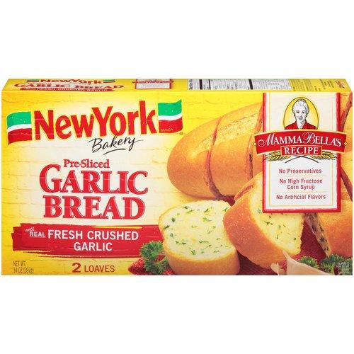 "<ul> <li>Mamma Bella's Recipe</li> <li>Made with Real Fresh Garlic</li> <li>No Preservatives</li> <li>No High Fructose Corn Syrup</li> <li>No Artificial Flavors</li> <li>2 Loaves</li> <li>""We're proud to bake Mamma Bella's Recipes. We haven't changed a thing."" – Don Penn (3rd Generation NYB Baker)</li> <li>The big flavor of fresh, crushed garlic is in between every slice.</li> <li>Our soft bread is pre-sliced so you can leave the knife in the drawer.</li> </ul>"