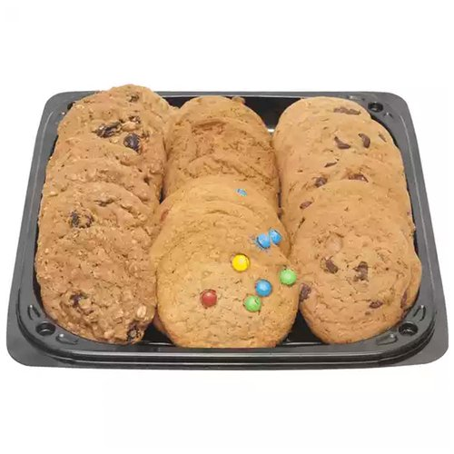 <br>Freshly baked assortment of delicious cookies that are sure to please. It may contain a combination of any of the following varieties: </br> <br></br> <ul> <li> Chocolate Chip</li> <li> Oatmeal</li> <li> Sugar</li> <li> Peanut Butter</li> </ul>  <br>32 Pieces of varieties. Serves 12-14 people. </br>