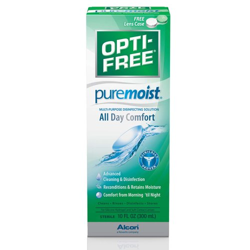 For silicone hydrogel and soft contact lenses. Clinically proven. Advanced cleaning & disinfection. Reconditions & retains moisture. Comfort from morning 'til night. Cleans. Rinses. Disinfects. Stores. Sterile. With Hydraglyde moisture matrix. Opti-Free PureMoist Solution is clinically proven to provide comfort. It contains our unique HydraGlyde Moisture Matrix which cushions the lens with a shield of moisture that lasts from morning 'til night. Cleans & disinfects. Provides a cushion of moisture for comfort. Removes protein deposits. Provides comfort from morning 'til night. Certain ingredients in Opti-Free Puremoist Solution are exclusive to the Opti-Free brand. There is no generic or store brand equivalent of this product. Opti-Free Products for Silicone Hydrogel and Soft Contact Lenses: Product: Opti-Free Express Solution; Benefits: Everyday comfort; Proprietary Ingredients: Tetronic 1304 for a proven & effective clean. Product: Opti-Free Replenish Solution; Benefits: Enhanced comfort; Proprietary Ingredients: TearGlyde proprietary dual action system reconditions & retains moisture. Product: Opti-Free Puremoist Solution; Benefits: All day comfort; Proprietary Ingredients: HydraGlyde Mositure Matrix provides a lubricating cushion of moisture. Alcon's Guarantee: The performance of this product is guaranteed. If you are not satisfied with this product for any reason, return the unused portion to Alcon Laboratories for a full refund. www.Opti-Free.com. Questions or comments? Call 1-800-757-9195. Please remember to recycle. HydraGlyde Moisture Matrix is a proprietary multi-functional block copolymer that is primarily designed for wetting and lubricating silicone hydrogel lenses. Made in USA.