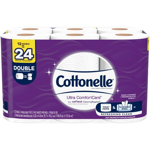 <ul> <li>12 double rolls = 24 single rolls, 142 sheets per toilet paper roll</li> <li>Biodegradable- clog-safe, sewer-safe and septic-safe – made with renewable, plant-based fibers</li> <li>3X thicker, 2X more absorbent per sheet versus the leading national value brand</li> <li>Cottonelle Ultra ComfortCare Toilet Paper is premium soft, 2-ply toilet tissue uniquely designed with a soft, cushiony Cleaning Ripples Texture that removes more at once per sheet and is three times thicker & two times more absorbent per sheet than the leading national value brand.  Biodegradable, clog-safe, sewer-safe, & septic-safe.  Sourced from responsibly managed forests.</li> </ul>