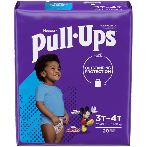 Make potty training easier* with Pull-Ups Learning Designs Training Pants!  Refastenable, easy-open sides allow you to keep socks, shoes and pants on your toddler for quick changes on-the-go or at home.  Pull-Ups Learning Designs provide outstanding protection & all-around coverage with soft, stretchy sides that fit like underwear and slide up & down to promote Big Kid independence.  Pull-Ups disposable training pants also feature adjustable sides to customize your child's waistband and easily check for messes, plus added absorbency where he needs it most.  Each pack includes front & back designs of Disney's Mickey Mouse, with graphics that fade when wet to help him learn.  When your child is ready to begin his potty training journey, the Pull-Ups brand can help.  Visit pull-ups.com for expert articles, tips and potty training resources.  We've helped train 50 million Big Kids and counting!  Pull-Ups Learning Designs Boys' Training Pants are available in sizes 12-24M (14-26 lb.), 2T-3T (18-34 lb.), 3T-4T (32-40 lb.) and 4T-5T (38-50 lb.).  Learning Designs now come in One Month Supply Packs, making it easy to buy in bulk and save.  (*vs. training in diapers)