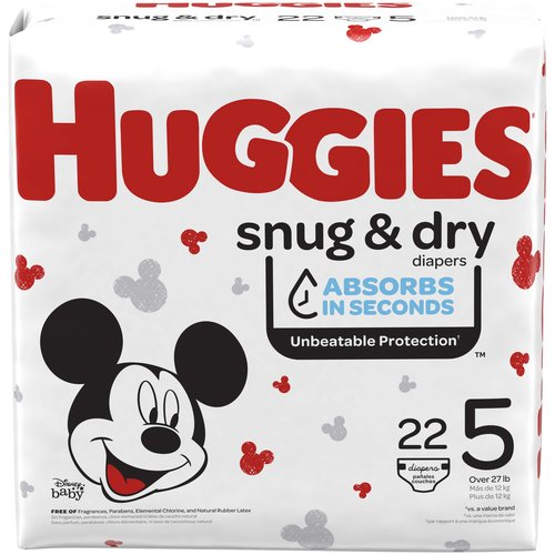 Huggies Snug & Dry Diapers give baby up to 12 hours of long-lasting protection with our trusted Leak Lock System.  Featuring new and improved leakage protection,* Snug & Dry absorbs wetness in seconds and helps separate moisture from baby's sensitive skin.  Snug & Dry Diapers have a contoured shape for better leakage protection while baby is sleeping, crawling and walking.  They also come with a wetness indicator that changes from yellow to blue when baby is ready for a diaper change.  Snug & Dry disposable diapers are hypoallergenic, fragrance free and free of parabens, elemental chlorine & natural rubber latex.  Featuring fun Disney Mickey Mouse designs, Snug & Dry Diapers are available in sizes Newborn (up to 10 lb.), 1 (8-14 lb.), 2 (12-18 lb.), 3 (16-28 lb.), 4 (22-37 lb.), 5 (27+ lb.) and 6 (35+ lb.).  Join Huggies Rewards to earn 10 points for every dollar spent on Huggies diapers and wipes.  Points are redeemable for products, gift cards, sweepstakes and more.  You'll also receive exclusive diaper coupons, offers and updates.  (*sizes 3-6)