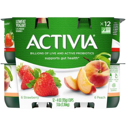 <ul> <li>Probiotic low-fat yogurt</li> <li>Peach and strawberry flavors</li> <li>Single-serve cups</li> <li>Supports gut health with live and active probiotics</li> <li>Non-GMO Project Verified</li> <li>Part of a healthy lifestyle</li> </ul>