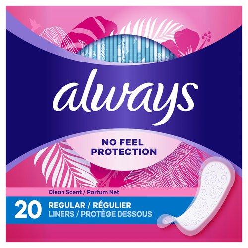 <ul> <li>Always Thin No Feel Protection Liners are designed with a breathable layer to help keep you dry</li> <li>The pantiliners are thin and absorbent for everyday freshness</li> <li>Edge-2-Edge Adhesive helps keep the panty liner in place</li> <li>Individually wrapped to take them anywhere</li> <li>Find your best fit with the Always Liners Fit sizing chart</li> </ul>