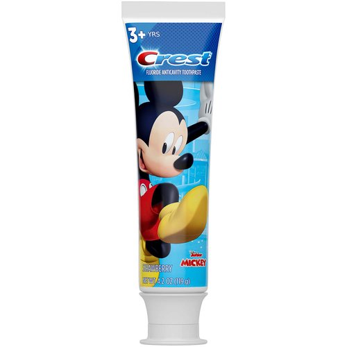 <ul> <li>Fluoride toothpaste provides effective cavity protection</li> <li>Strengthens enamel</li> <li>Strawberry flavor</li> <li>Use with the Disney Magic Timer App by Oral-B to help kids brush up to 2x longer</li> <li>Makes brushing fun by featuring Disney Junior Mickey Mouse. Use with Oral-B Kid's Disney Junior Mickey Mouse toothbrush</li> </ul>