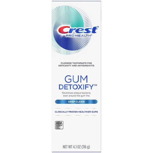 <ul> <li>Use Crest Gum Detoxify Deep Clean Toothpaste for clinically proven healthier gums</li> <li>Neutralizes plaque bacteria, even around the gum line to fight gingivitis</li> <li>Activated foam seeks out plaque bacteria in hard to reach places</li> <li>Gently cools gums during and after brushing</li> </ul>
