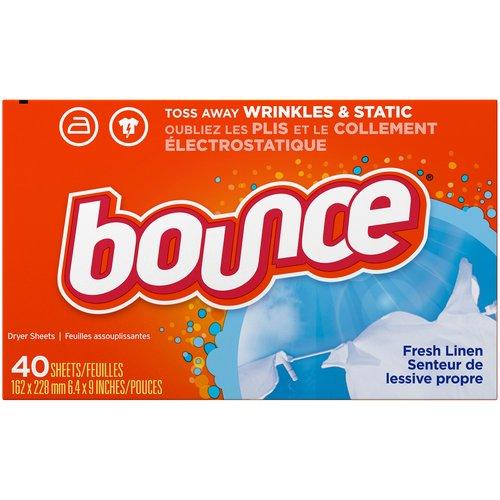 <ul> <li>Familiar scent of fresh linen</li> <li>Helps Reduce Wrinkles so you can iron less.</li> <li>Controls static cling in fabrics and helps repel lint & hair.</li> <li>Softens fabrics</li> <li>Toss in two Bounce dryer sheets for your average loads to iron less, fight more static, repel more lint & pet hair, and add more softness & freshness. For small & medium loads toss in one Bounce dryer sheet, and for extra-large loads toss in three!</li> <li>Contains biodegradable cationic softeners</li> <li>For use in all types of dryers (HE & Regular)</li> </ul>