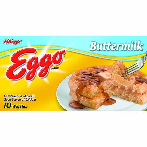<ul> <li>Kellogg's Eggo Buttermilk Waffles</li> <li>Goodness That's Tasty</li> <li>No Artificial Colors or Flavors</li> </ul>