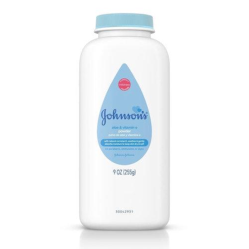 Johnson & Johnson's Cornstarch Baby Powder, Aloe & Vitamin E, 9 Ounce
