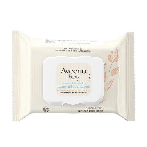 Aveeno Baby Hand & Face Wipes, 25 Each