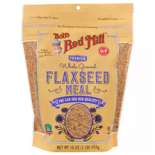 <ul> <li>Bobs Red Mill Flaxseed Meal, Premium, Whole Ground</li> <li>Gluten Free</li> <li>Non GMO Verified</li> </ul>