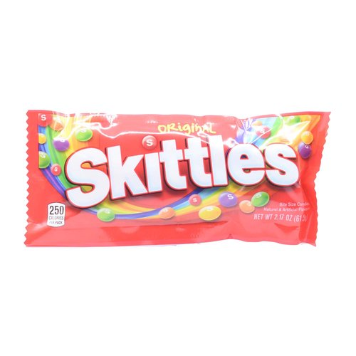 What's Inside: 250 calories (13% DV) per pack. Natural & artificial flavors. Orange. Grape. Lemon. Strawberry. Green Apple. www.skittles.com. www.facebook.com/skittles. Produced with genetic engineering. Gluten-free, gelatin-free. Questions? Comments? Call 1-800-wrigley (1-800-974-4539). Dispose of properly. Do your part! What's Inside Per Pack: 250 calories (13% DV); 2.5 g total fat (4% DV); 2.5 g sat fat (13% DV); 46 g sugars (no DV defined); 20 mg sodium (1% DV). GDA's are based on a 2,000 calorie diet. To learn more visit www.skittles.com.