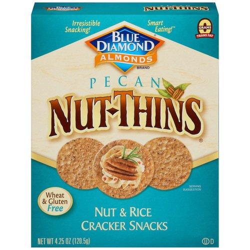 <ul> <li>Blue Diamond Nut-Thins Cracker Snacks, Pecan Nut & Rice </li> <li>Gluten Free</li> <li>130 calories for 16 crackers.</li> <li>0 grams trans fat.</li> <li>2 grams of protein per serving.</li> <li>Wheat & gluten free.</li> <li>Made with real pecans.</li> </ul>